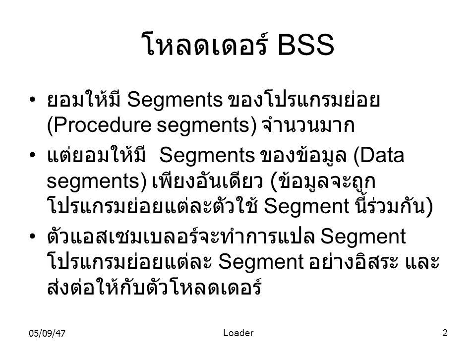 05/09/47Loader2 โหลดเดอร์ BSS • ยอมให้มี Segments ของโปรแกรมย่อย (Procedure segments) จำนวนมาก • แต่ยอมให้มี Segments ของข้อมูล (Data segments) เพียงอันเดียว ( ข้อมูลจะถูก โปรแกรมย่อยแต่ละตัวใช้ Segment นี้ร่วมกัน ) • ตัวแอสเซมเบลอร์จะทำการแปล Segment โปรแกรมย่อยแต่ละ Segment อย่างอิสระ และ ส่งต่อให้กับตัวโหลดเดอร์