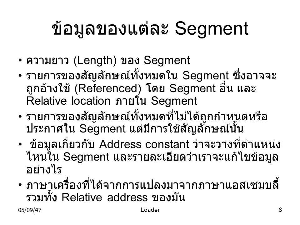 05/09/47Loader8 ข้อมูลของแต่ละ Segment • ความยาว (Length) ของ Segment • รายการของสัญลักษณ์ทั้งหมดใน Segment ซึ่งอาจจะ ถูกอ้างใช้ (Referenced) โดย Segment อื่น และ Relative location ภายใน Segment • รายการของสัญลักษณ์ทั้งหมดที่ไม่ได้ถูกกำหนดหรือ ประกาศใน Segment แต่มีการใช้สัญลักษณ์นั้น • ข้อมูลเกี่ยวกับ Address constant ว่าจะวางที่ตำแหน่ง ไหนใน Segment และรายละเอียดว่าเราจะแก้ไขข้อมูล อย่างไร • ภาษาเครื่องที่ได้จากการแปลงมาจากภาษาแอสเซมบลี้ รวมทั้ง Relative address ของมัน