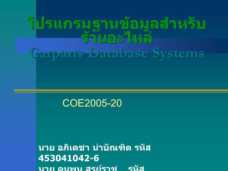 โปรแกรมฐานข้อมูลสำหรับ ร้านอะไหล่ Carparts Database Systems COE2005-20 นาย อภิเดชา น่าบัณฑิต รหัส 453041042-6 นาย ดนุพน สูรย์ราช รหัส 453040701-7