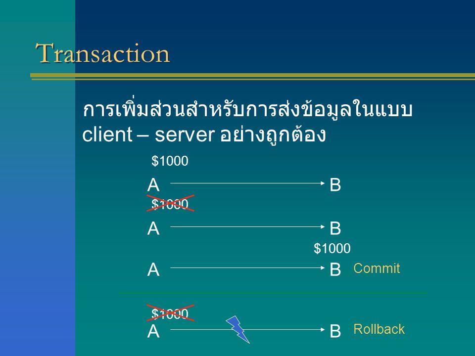 Transaction การเพิ่มส่วนสำหรับการส่งข้อมูลในแบบ client – server อย่างถูกต้อง AB $1000 AB AB AB Commit Rollback