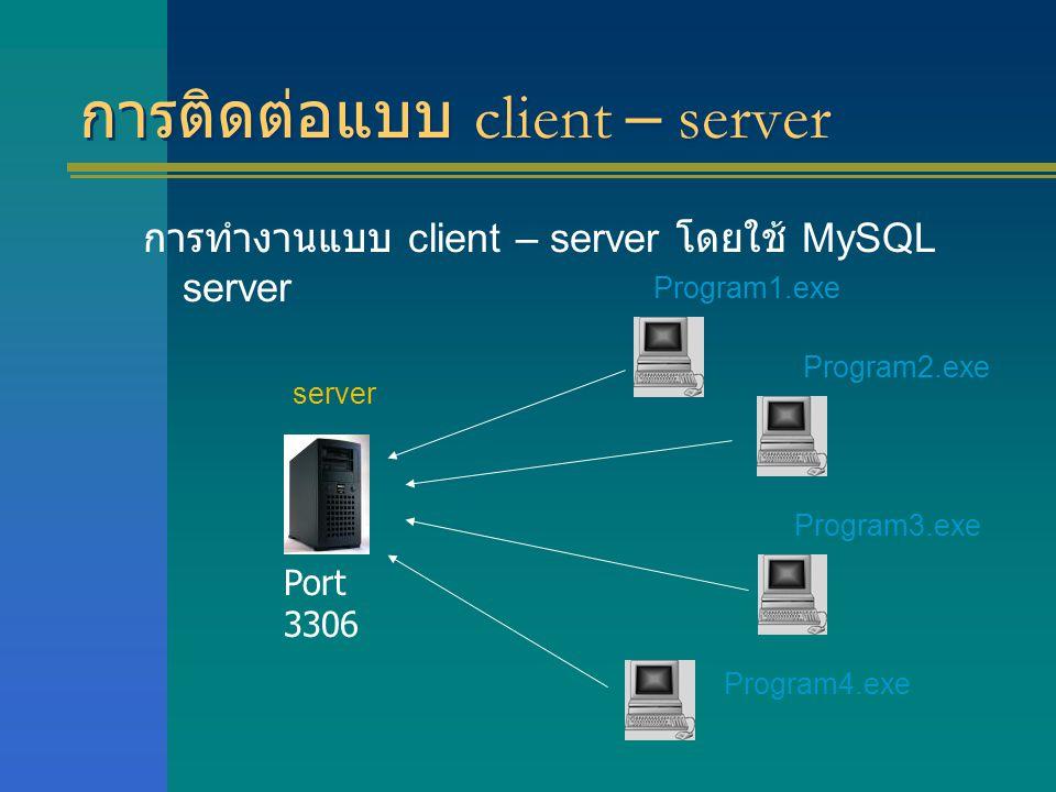 การติดต่อแบบ client – server การทำงานแบบ client – server โดยใช้ MySQL server server Program1.exe Program2.exe Program3.exe Program4.exe Port 3306