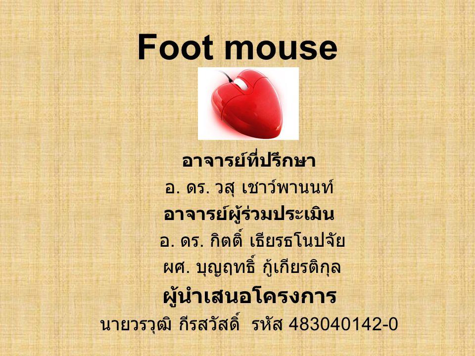 Foot mouse อาจารย์ที่ปรึกษา อ. ดร. วสุ เชาว์พานนท์ อาจารย์ผู้ร่วมประเมิน อ. ดร. กิตติ์ เธียรธโนปจัย ผศ. บุญฤทธิ์ กู้เกียรติกุล ผู้นำเสนอโครงการ นายวรว