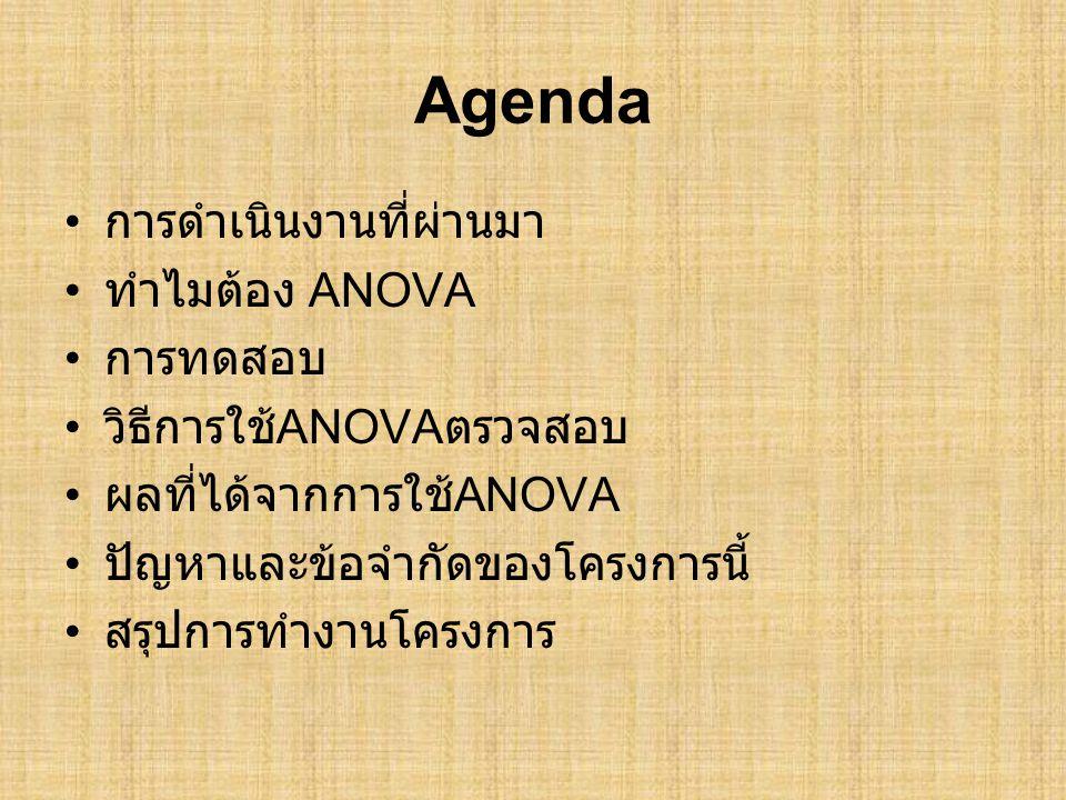 Agenda • การดำเนินงานที่ผ่านมา • ทำไมต้อง ANOVA • การทดสอบ • วิธีการใช้ ANOVA ตรวจสอบ • ผลที่ได้จากการใช้ ANOVA • ปัญหาและข้อจำกัดของโครงการนี้ • สรุปการทำงานโครงการ