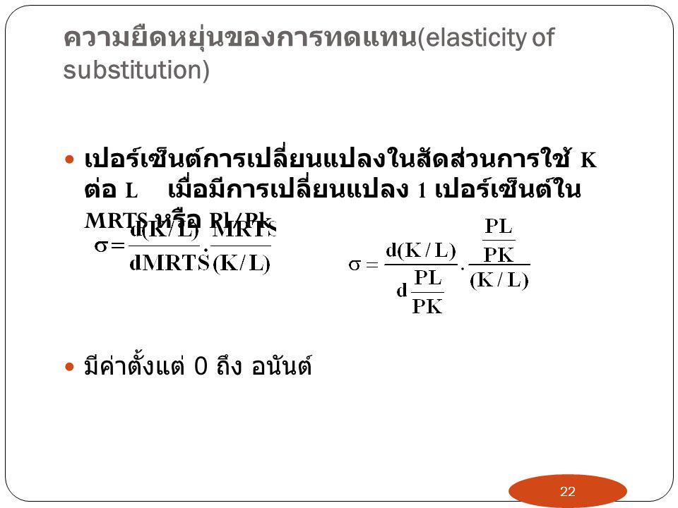 ความยืดหยุ่นของการทดแทน (elasticity of substitution)  เปอร์เซ็นต์การเปลี่ยนแปลงในสัดส่วนการใช้ K ต่อ L เมื่อมีการเปลี่ยนแปลง 1 เปอร์เซ็นต์ใน MRTS หรือ Pl/Pk  มีค่าตั้งแต่ 0 ถึง อนันต์ 22