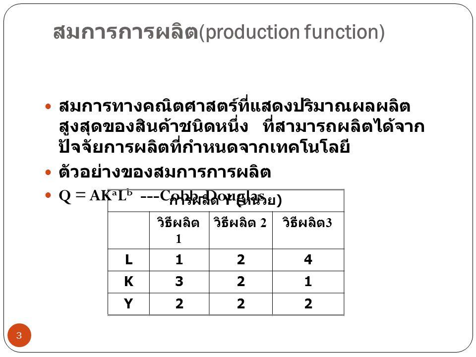 สมการการผลิต (production function) 3  สมการทางคณิตศาสตร์ที่แสดงปริมาณผลผลิต สูงสุดของสินค้าชนิดหนึ่ง ที่สามารถผลิตได้จาก ปัจจัยการผลิตที่กำหนดจากเทคโนโลยี  ตัวอย่างของสมการการผลิต  Q = AK a L b ---Cobb-Douglas การผลิต Y ( หน่วย ) วิธีผลิต 1 วิธีผลิต 2 วิธีผลิต 3 L124 K321 Y222