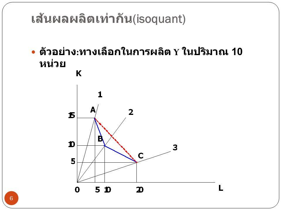 อัตราการทดแทนส่วนเพิ่มทางเทคนิค (marginal rate of technical substitution) 7  ปริมาณ K ที่สามารถทดแทนได้ด้วย L 1 หน่วย  ความลาดชันของเส้นผลผลิตเท่ากัน  MRTS ลดลงเมื่อมีการใช้ L ทดแทน K  การทดแทน K ด้วย L ไปเรื่อยๆทำให้ ความสามารถในการทำงานของ L ลดลง mrts จึงลดลง  เด็ก 5 คนกับพลั่ว 5 ตัว ขุดทรายได้รวมกัน 10 กิโลกรัม  การลดจำนวนพลั่วแต่เพิ่มจำนวนเด็กทำให้เด็ก บางคนต้องขุดทรายด้วยมือ เขาจึงขุดทรายได้ น้อยลง  ในที่สุดต้องเพิ่มเด็กในจำนวนที่เพิ่มขึ้น เมื่อลด พลั่วลง 1 ตัว เพราะมีคนใช้มือเพิ่มขึ้น