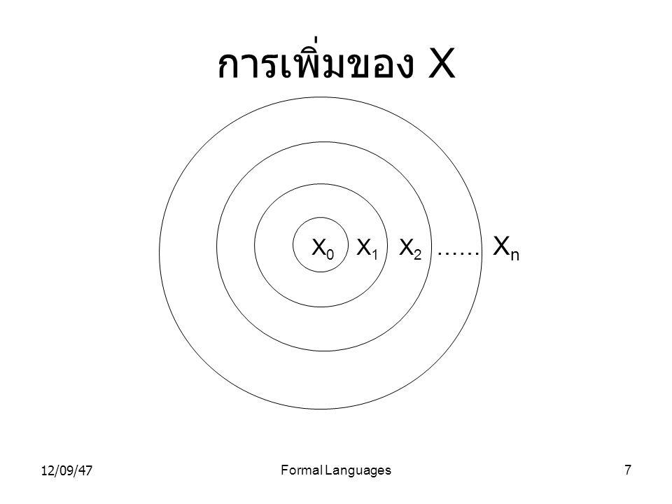 12/09/47Formal Languages7 การเพิ่มของ X X 0 X 1 X 2 …… X n