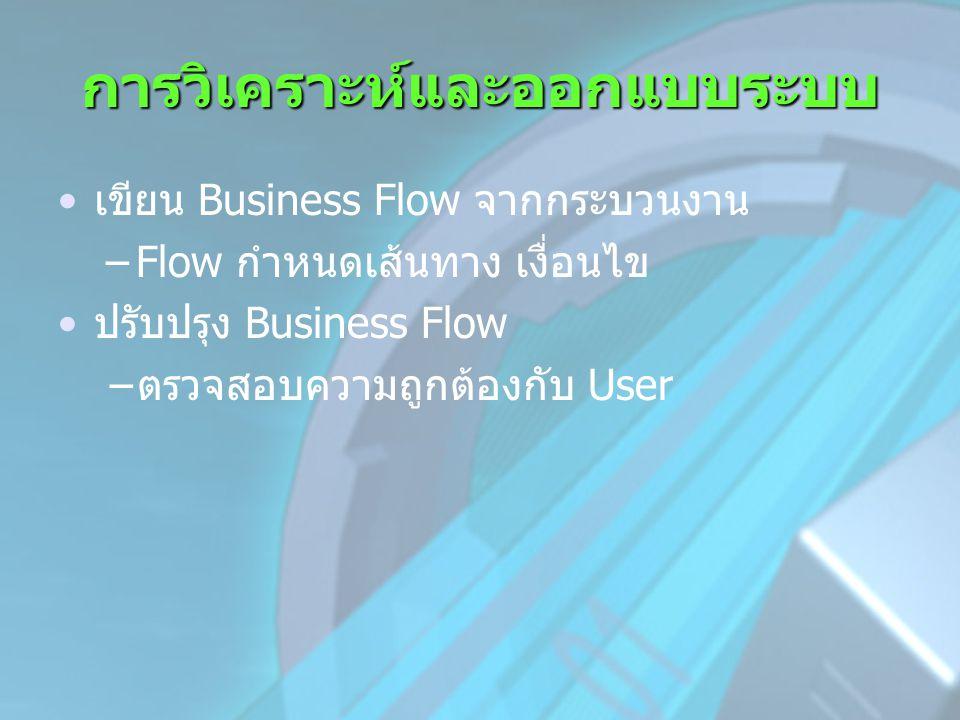 การวิเคราะห์และออกแบบระบบ •เขียน Business Flow จากกระบวนงาน –Flow กำหนดเส้นทาง เงื่อนไข •ปรับปรุง Business Flow −ตรวจสอบความถูกต้องกับ User