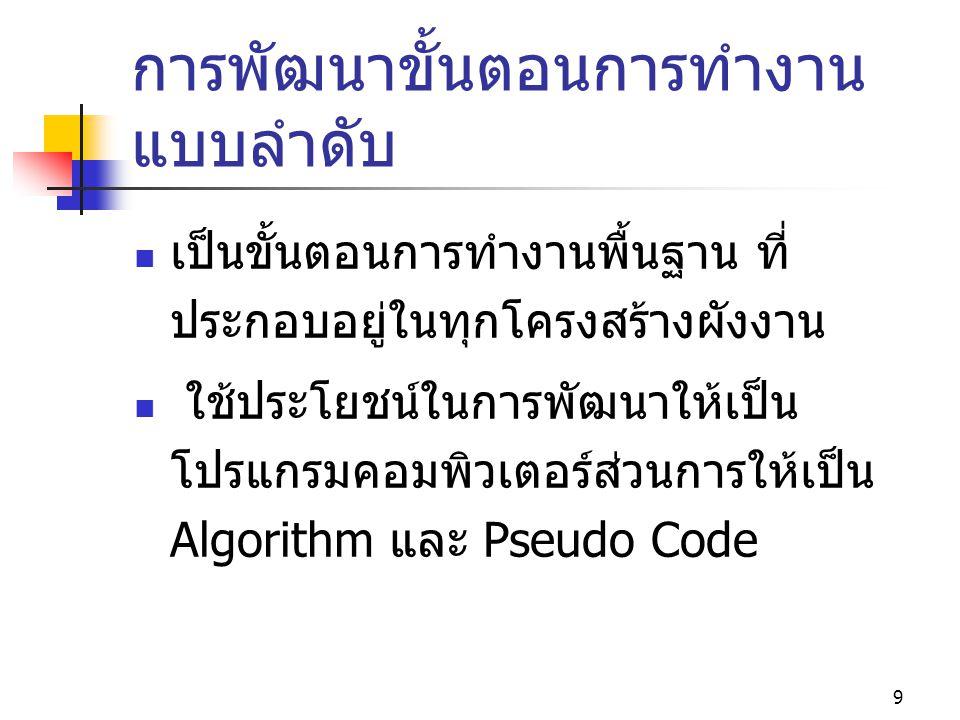 10 ความสัมพันธ์ระหว่าง Flowchart การทำงานของ Algorithm และ Pseudo Code Algorithm  เริ่มต้น  จบการ ทำงาน  รับค่า X  กำหนดให้ a 0 Pseudo Code  Begin หรือ Start  End หรือ Stop  Read X  a 0