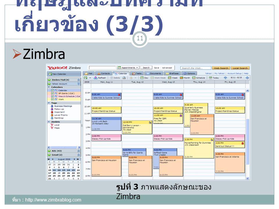 ทฤษฎีและบทความที่ เกี่ยวข้อง (3/3) 11 รูปที่ 3 ภาพแสดงลักษณะของ Zimbra  Zimbra ที่มา : http://www.zimbrablog.com