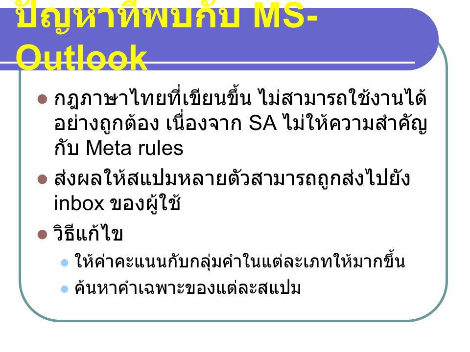 ปัญหาที่พบกับ MS- Outlook  กฎภาษาไทยที่เขียนขึ้น ไม่สามารถใช้งานได้ อย่างถูกต้อง เนื่องจาก SA ไม่ให้ความสำคัญ กับ Meta rules  ส่งผลให้สแปมหลายตัวสาม
