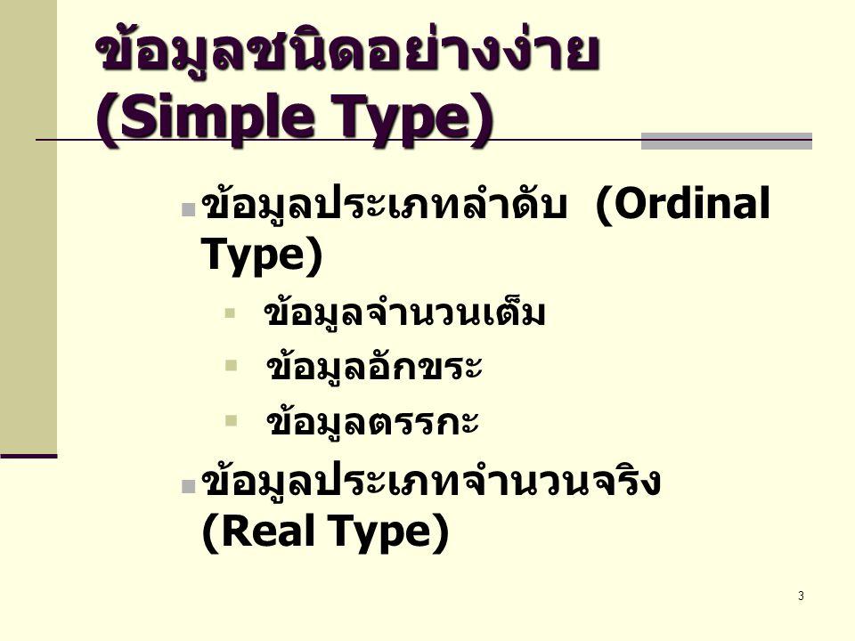 3 ข้อมูลชนิดอย่างง่าย (Simple Type)  ข้อมูลประเภทลำดับ (Ordinal Type)  ข้อมูลจำนวนเต็ม  ข้อมูลอักขระ  ข้อมูลตรรกะ  ข้อมูลประเภทจำนวนจริง (Real Ty