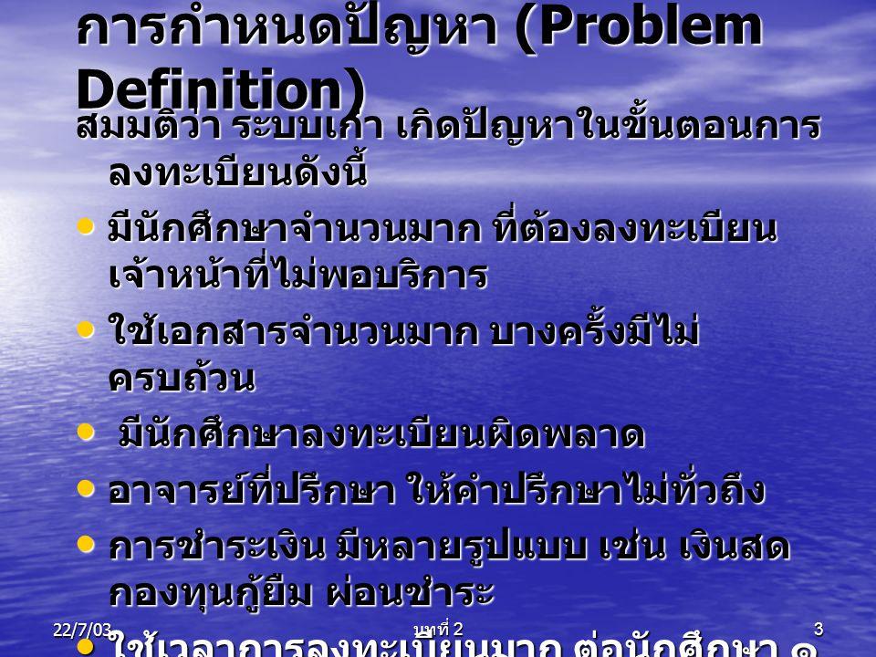 22/7/03 บทที่ 2 4 ทำให้เกิดแนวการคิดพัฒนา ระบบใหม่ให้มีประสิทธิภาพ จึง สรุปปัญหาระบบเก่าที่เกิดขึ้น • ระบบที่มีอยู่ ไม่สามารถตอบสนองความ ต้องการที่แท้จริงของผู้ใช้ หรือผู้ใช้ไม่พึง พอใจต่อระบบที่มีอยู่ ขาดการประสานงานที่ ดี • ระบบที่ใช้อยู่ ไม่สามารถสนับสนุนการ ดำเนินงานในอนาคต • ระบบที่มีอยู่ มีเทคโนโลยีที่ล้าสมัย • ระบบที่มีอยู่ มีขั้นตอนที่ยุ่งยาก ซับซ้อน • ระบบที่มีอยู่ ทำงานผิดพลาด บ่อยครั้ง • ระบบเอกสาร ไม่เป็นระเบียบ ทำให้การ ค้นหาข้อมูลล่าช้า