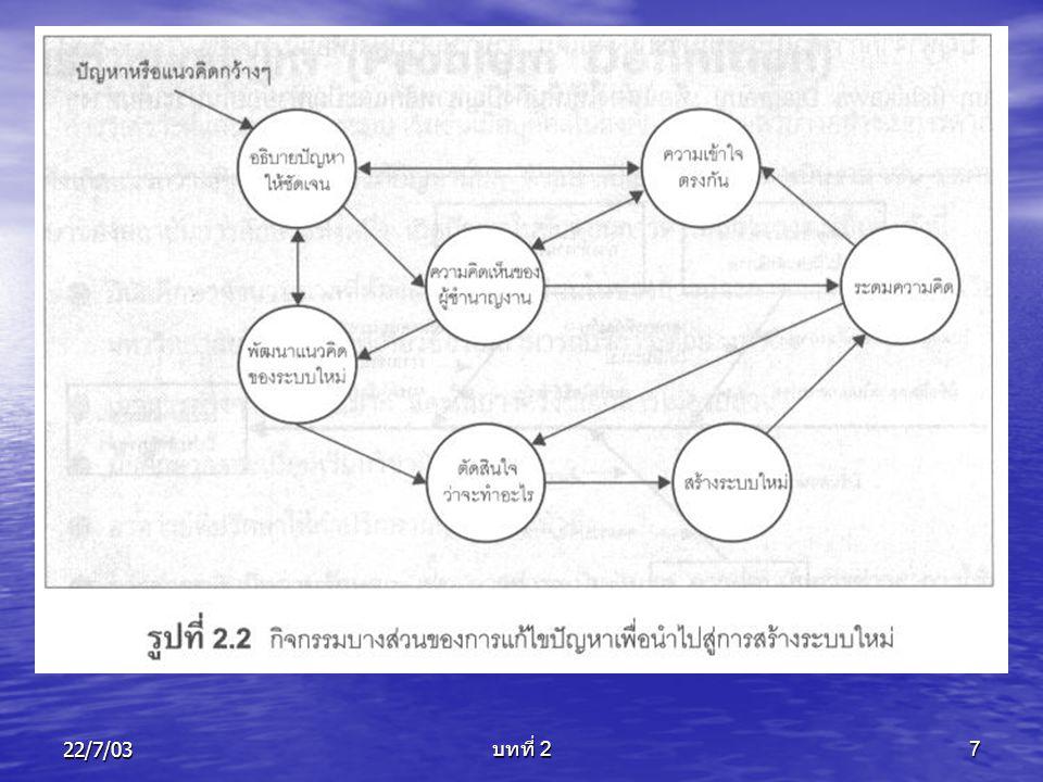 22/7/03 บทที่ 2 8 การศึกษาความเป็นไปได้ (Feasibility Study) 1.
