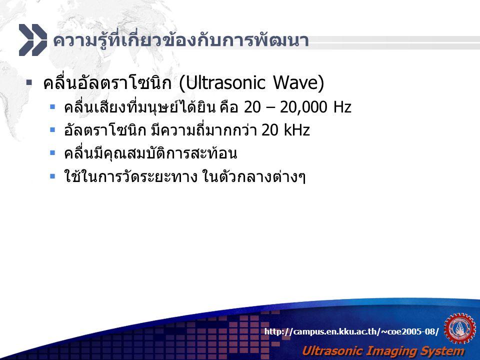 Ultrasonic Imaging System http://campus.en.kku.ac.th/~coe2005-08/ ปัญหาที่พบจากการพัฒนา  สัญญาณที่ได้มีขนาดเบามาก เพราะความแตกต่างระหว่าง Acoustic Impedance ของ วัตถุที่ตรวจสอบกับสาร Couplant  มีสัญญาณรบกวน ขนาด 50 Hz ซึ่งพบว่าเกิดจากระบบ ไฟฟ้า AC 220 V