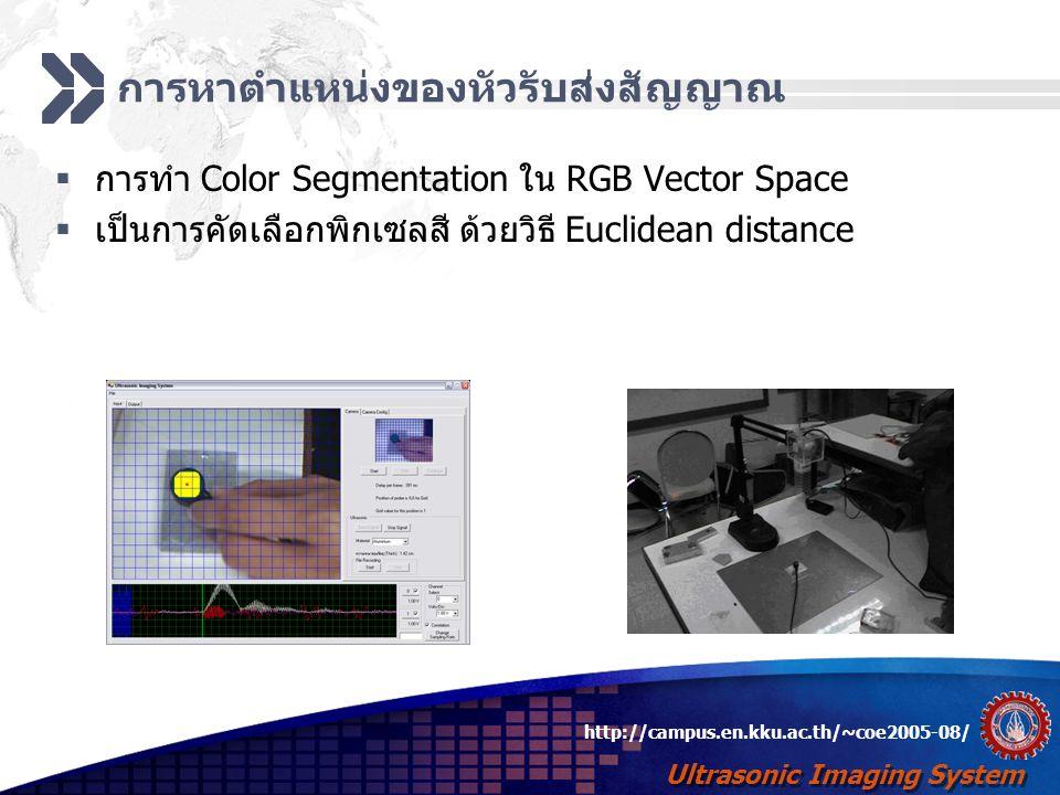 Ultrasonic Imaging System http://campus.en.kku.ac.th/~coe2005-08/ การส่งสัญญาณและตรวจหาสัญญาณสะท้อน  สร้างสัญญาณ Sinusoid เพื่อส่งไปยังหัวรับส่งสัญญาณ  คลื่นอัลตราโซนิก สร้างจากการกระตุ้น piezoelectric ด้วย สัญญาณไฟฟ้า  ความถี่ที่ใช้ คือ 2.5 MHz และ 5 MHz  ตรวจสัญญาณสะท้อนโดยการหา Cross-Correlation