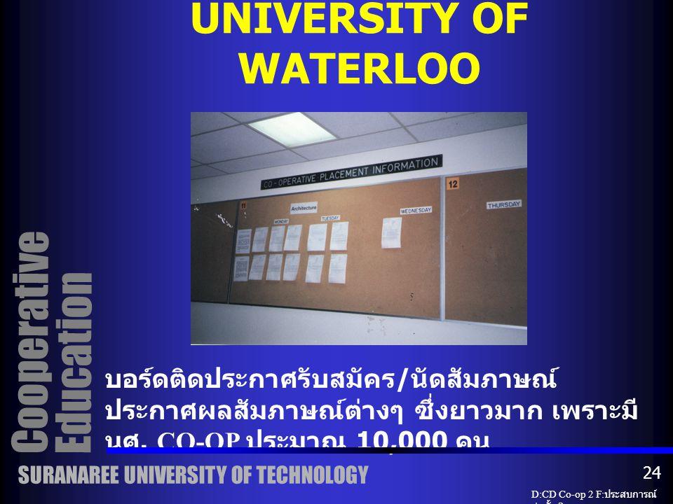 ห้องสมุดอาชีพของ CO-OP ซึ่งจะเก็บ ข้อมูลบริษัทต่างๆ ที่เสนองานให้นักศึกษา ทำ และรายงานเก่า CO-OP OFFICE UNIVERSITY OF WATERLOO Cooperative Education SURANAREE UNIVERSITY OF TECHNOLOGY D:CD Co-op 2 F: ประสบการณ์ ก่อตั้ง 2 23