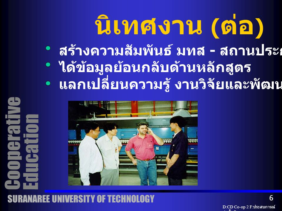 Cooperative Education นิเทศงาน นักศึกษาต้องได้รับการนิเทศอย่างน้อย 1 ครั้ง โดยคณาจารย์ ณ สถานที่ปฏิบัติงาน SURANAREE UNIVERSITY OF TECHNOLOGY D:CD Co-op 2 F: ประสบการณ์ ก่อตั้ง 2 5