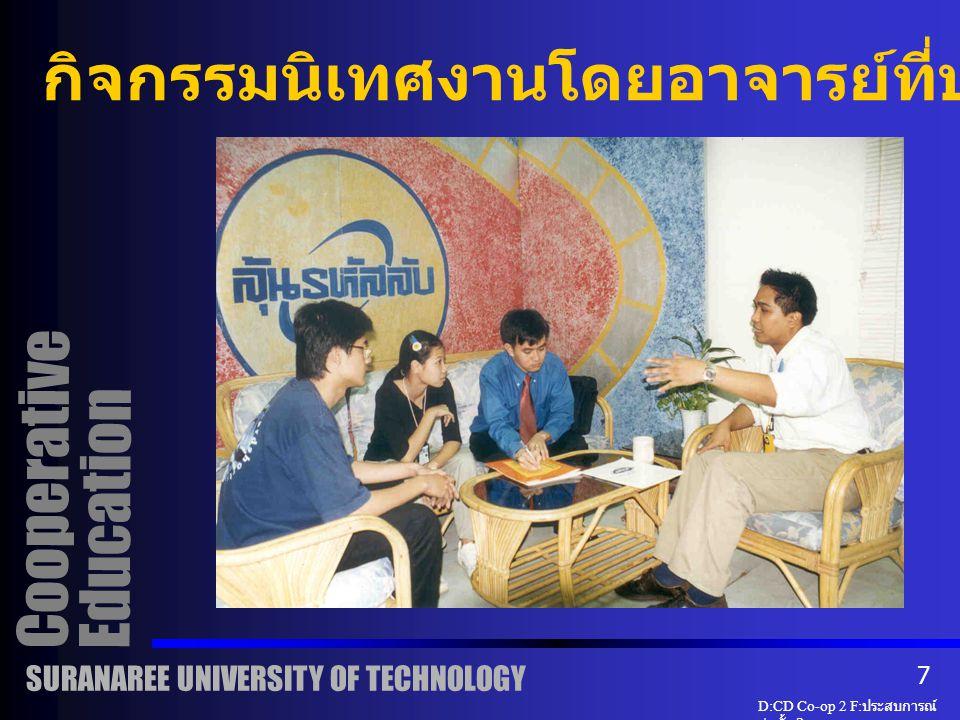 นิเทศงาน ( ต่อ ) สร้างความสัมพันธ์ มทส - สถานประกอบการ ได้ข้อมูลย้อนกลับด้านหลักสูตร แลกเปลี่ยนความรู้ งานวิจัยและพัฒนา Cooperative Education SURANAREE UNIVERSITY OF TECHNOLOGY D:CD Co-op 2 F: ประสบการณ์ ก่อตั้ง 2 6
