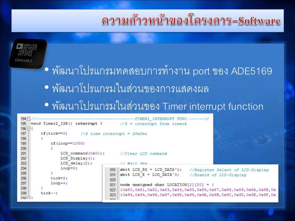 • พัฒนาโปรแกรมทดสอบการทำงาน port ของ ADE5169 • พัฒนาโปรแกรมในส่วนของการแสดงผล • พัฒนาโปรแกรมในส่วนของ Timer interrupt function • พัฒนาโปรแกรมทดสอบการทำงาน port ของ ADE5169 • พัฒนาโปรแกรมในส่วนของการแสดงผล • พัฒนาโปรแกรมในส่วนของ Timer interrupt function
