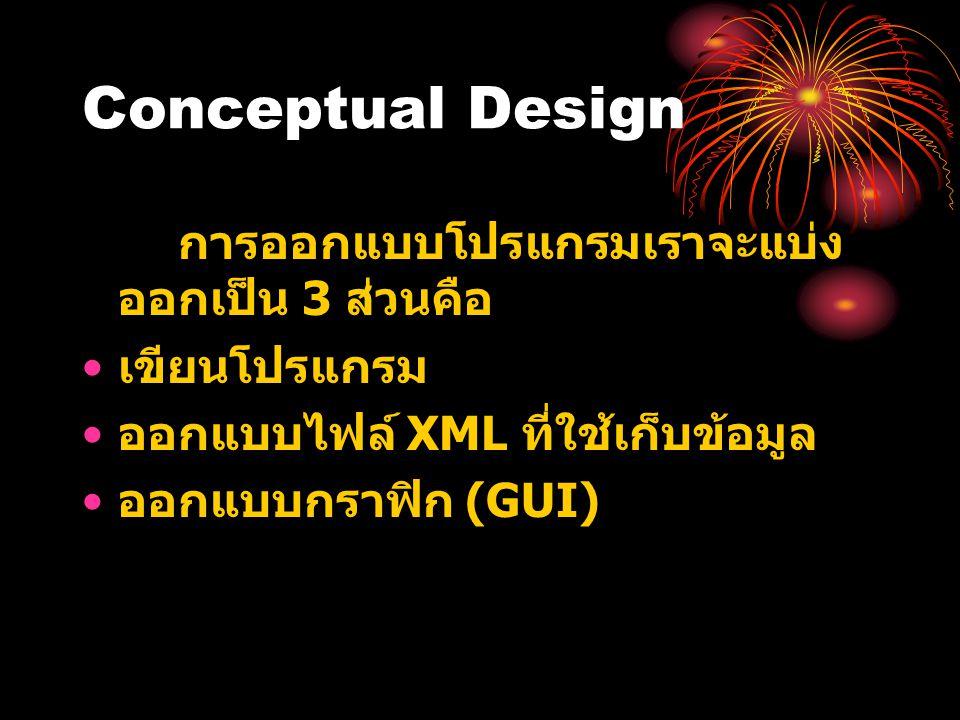 Conceptual Design การออกแบบโปรแกรมเราจะแบ่ง ออกเป็น 3 ส่วนคือ • เขียนโปรแกรม • ออกแบบไฟล์ XML ที่ใช้เก็บข้อมูล • ออกแบบกราฟิก (GUI)