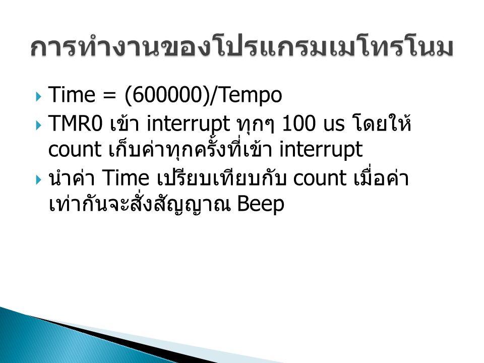  Time = (600000)/Tempo  TMR0 เข้า interrupt ทุกๆ 100 us โดยให้ count เก็บค่าทุกครั้งที่เข้า interrupt  นำค่า Time เปรียบเทียบกับ count เมื่อค่า เท่