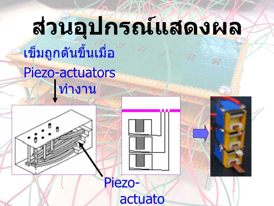 ส่วนอุปกรณ์แสดงผล เข็มถูกดันขึ้นเมื่อ Piezo-actuators ทำงาน Piezo- actuato rs
