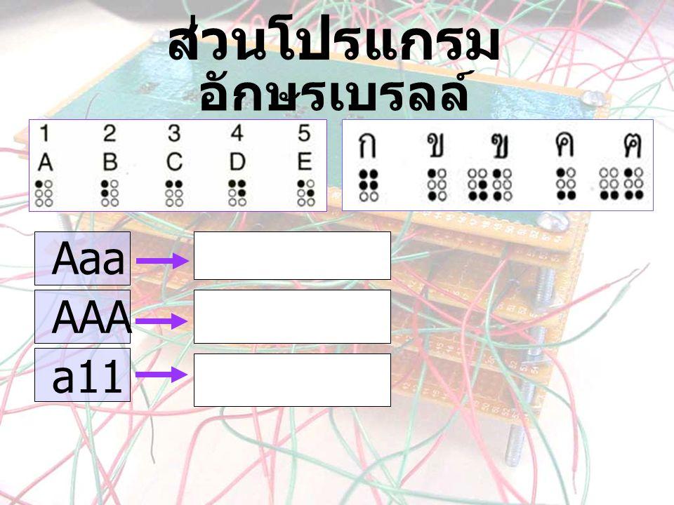 อักษรเบรลล์ Aaa AAA a11 ส่วนโปรแกรม