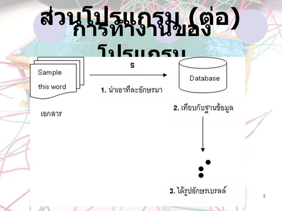 5 การทำงานของ โปรแกรม ส่วนโปรแกรม ( ต่อ )
