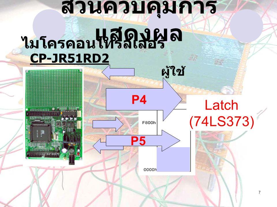 7 ส่วนควบคุมการ แสดงผล ผู้ใช้ P4 P5 Latch (74LS373) CP-JR51RD2 ไมโครคอนโทรลเลอร์