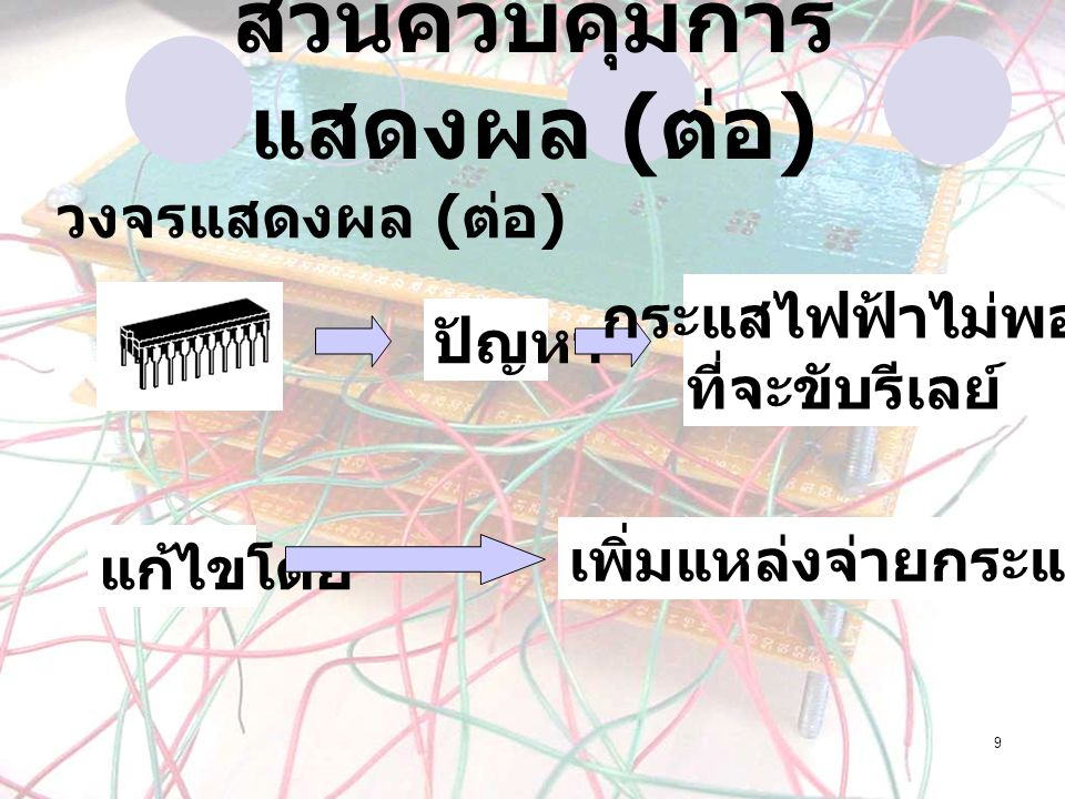 9 วงจรแสดงผล ( ต่อ ) ปัญหา กระแสไฟฟ้าไม่พอ ที่จะขับรีเลย์ แก้ไขโดย เพิ่มแหล่งจ่ายกระแสไฟฟ้า ส่วนควบคุมการ แสดงผล ( ต่อ )