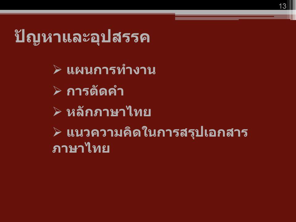 ปัญหาและอุปสรรค 13  การตัดคำ  แผนการทำงาน  หลักภาษาไทย  แนวความคิดในการสรุปเอกสาร ภาษาไทย