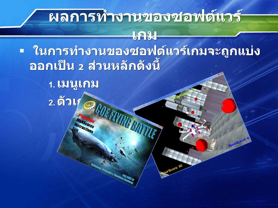 ผลการทำงานของซอฟต์แวร์ เกม ในการทำงานของซอฟต์แวร์เกมจะถูกแบ่ง ออกเป็น 2 ส่วนหลักดังนี้  ในการทำงานของซอฟต์แวร์เกมจะถูกแบ่ง ออกเป็น 2 ส่วนหลักดังนี้ 1.