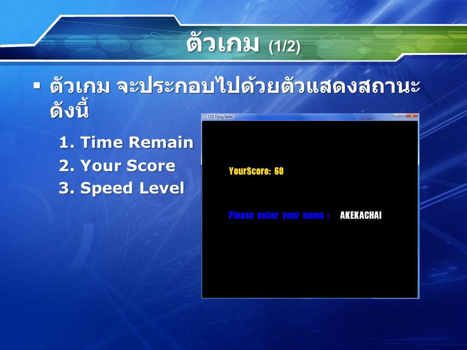ตัวเกม (1/2)  ตัวเกม จะประกอบไปด้วยตัวแสดงสถานะ ดังนี้ 1. Time Remain 2. Your Score 3. Speed Level