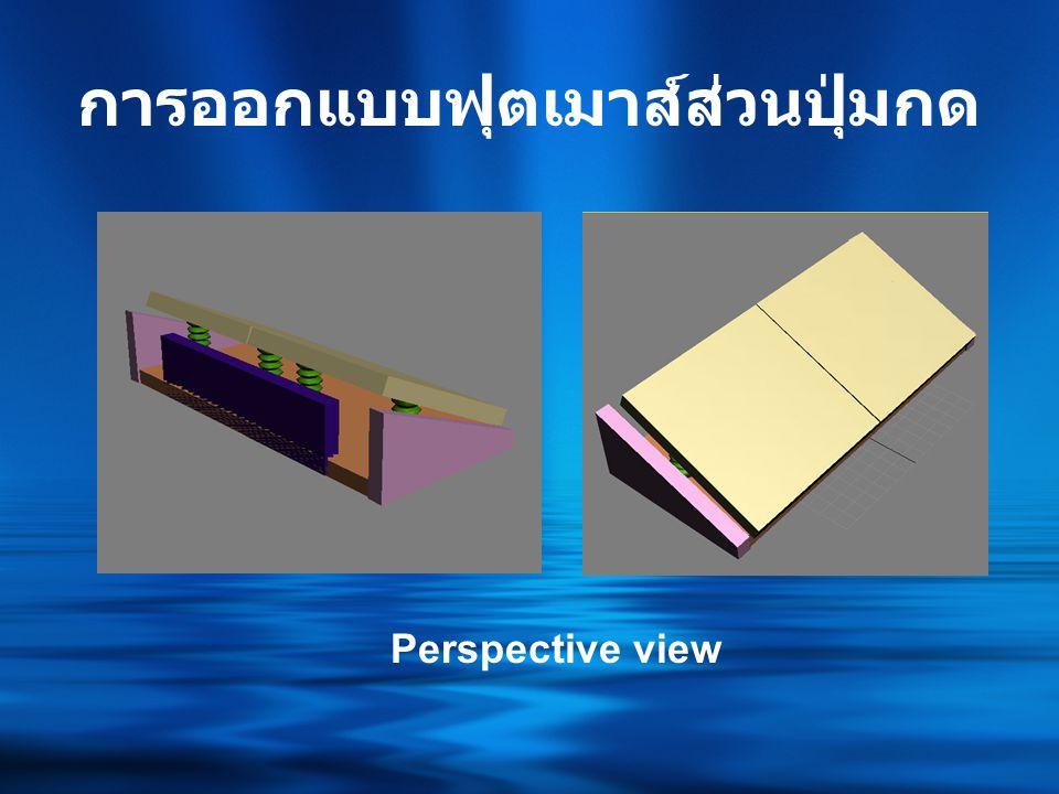 การออกแบบฟุตเมาส์ส่วน ควบคุมทิศทาง Front viewLeft view Top viewPerspective view