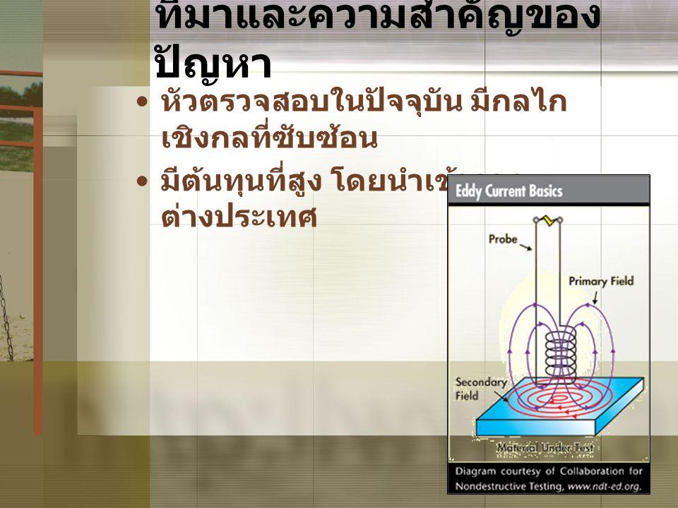 5 ที่มาและความสำคัญของ ปัญหา • หัวตรวจสอบในปัจจุบัน มีกลไก เชิงกลที่ซับซ้อน • มีต้นทุนที่สูง โดยนำเข้าจาก ต่างประเทศ