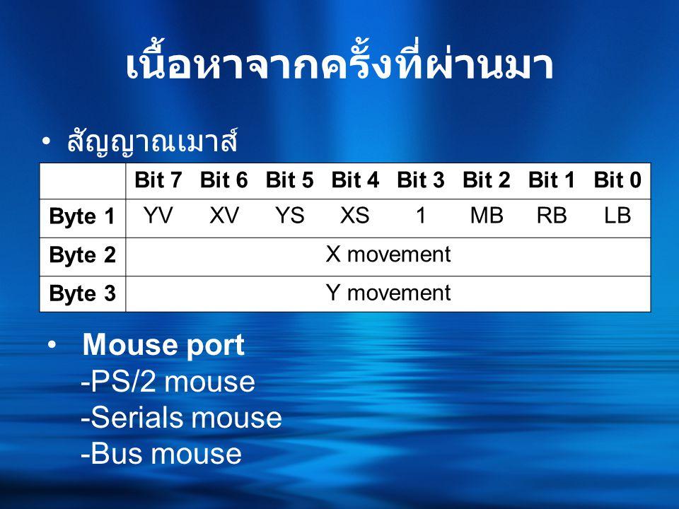 เนื้อหาจากครั้งที่ผ่านมา • สัญญาณเมาส์ Bit 7Bit 6Bit 5Bit 4Bit 3Bit 2Bit 1Bit 0 Byte 1YVXVYSXS1MBRBLB Byte 2X movement Byte 3Y movement • Mouse port -PS/2 mouse -Serials mouse -Bus mouse