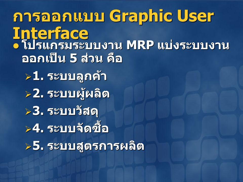 การออกแบบ Graphic User Interface  โปรแกรมระบบงาน MRP แบ่งระบบงาน ออกเป็น 5 ส่วน คือ  1. ระบบลูกค้า  2. ระบบผู้ผลิต  3. ระบบวัสดุ  4. ระบบจัดซื้อ