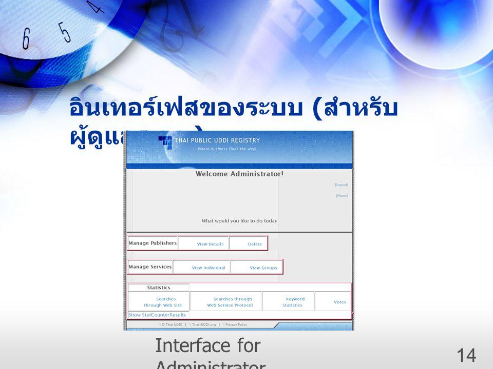 อินเทอร์เฟสของระบบ ( สำหรับ ผู้ดูแลระบบ ) Interface for Administrator 14