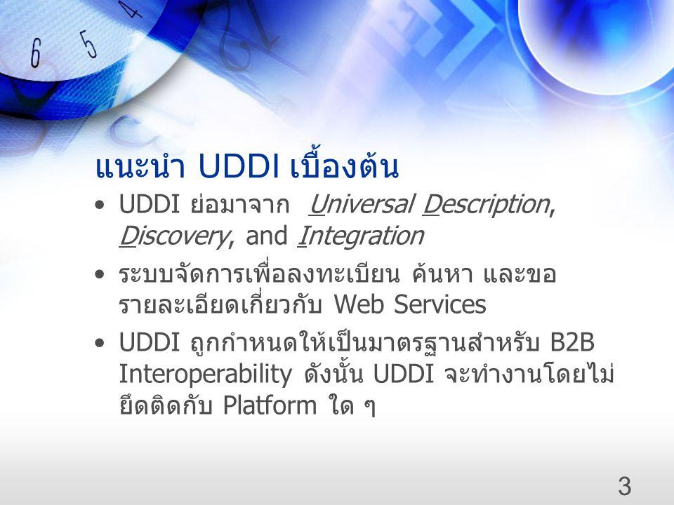 แนะนำ UDDI เบื้องต้น •UDDI ย่อมาจาก Universal Description, Discovery, and Integration • ระบบจัดการเพื่อลงทะเบียน ค้นหา และขอ รายละเอียดเกี่ยวกับ Web S