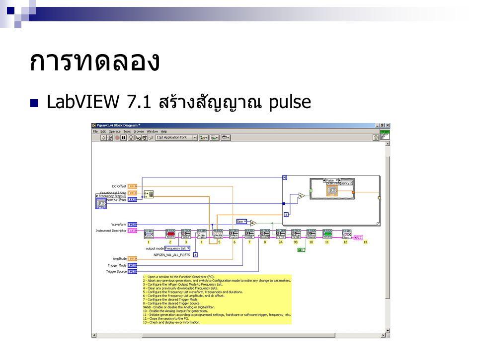 การทดลอง  LabVIEW 7.1 สร้างสัญญาณ pulse