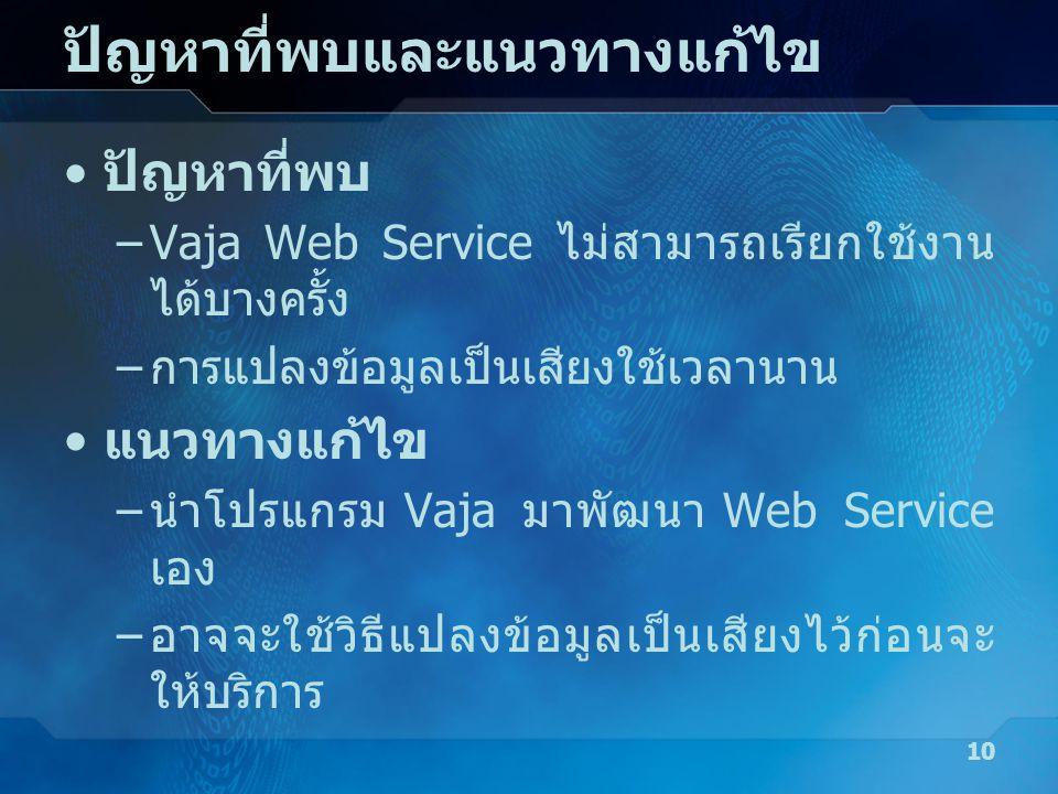 ปัญหาที่พบและแนวทางแก้ไข • ปัญหาที่พบ –Vaja Web Service ไม่สามารถเรียกใช้งาน ได้บางครั้ง – การแปลงข้อมูลเป็นเสียงใช้เวลานาน • แนวทางแก้ไข – นำโปรแกรม