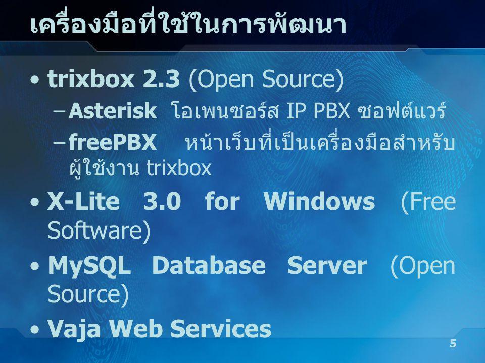 เครื่องมือที่ใช้ในการพัฒนา •trixbox 2.3 (Open Source) –Asterisk โอเพนซอร์ส IP PBX ซอฟต์แวร์ –freePBX หน้าเว็บที่เป็นเครื่องมือสำหรับ ผู้ใช้งาน trixbox