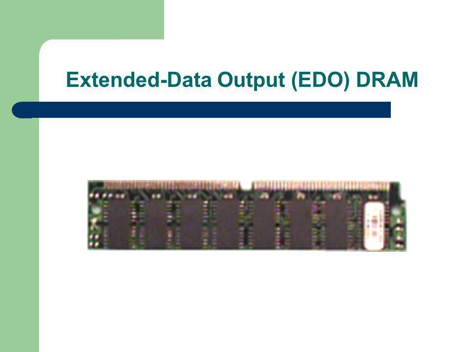  EDO ย่อมาจาก Extended Data Output เป็น เทคโนโลยีที่ปรับปรุงมาจาก FPM และนำมาใช้ใน ยุคการเปลี่ยนแปลงเข้าสู่เพนเตียม หลักการของ EDO เน้นการซ้อนเหลี่ยมจังหวะการทำงาน ซึ่ง ขณะการทำงานที่ซ้อนเหลี่ยมนี้ทำให้ได้ความเร็ว เพิ่มขึ้นอีกมาก หน่วยความจำแบบ EDO จึงเป็นที่ รู้จักกันดีในช่วงเวลาหนึ่ง ปัจจุบันเลิกผลิตแล้ว เช่นกัน