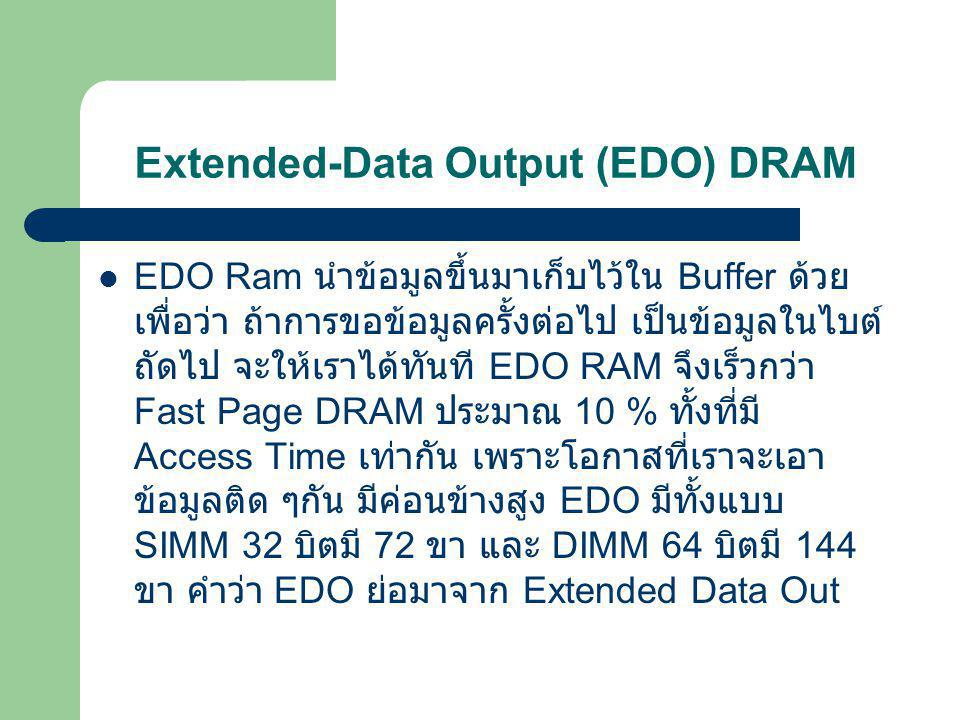 Extended-Data Output (EDO) DRAM หรือเรียกอีกชื่อหนึ่งก็คือ Hyper-Page Mode DRAM ซึ่ง พัฒนาขึ้นอีกระดับหนึ่ง โดยการที่มันจะอ้างอิง ตำแหน่งที่ อ่านข้อมูล จากครั้งก่อนไว้ด้วย ปกติแล้วการดึงข้อมูลจาก RAM ณ ตำแหน่งใด ๆ มักจะดึงข้อมูล ณ ตำแหน่งที่อยู่ ใกล้ ๆ จากการดึงก่อนหน้านี้ เพราะฉะนั้น ถ้ามีการอ้งอิง ณตำแหน่งเก่าไว้ก่อน ก็จะทำให้ เสียเวลาในการเข้าถึง ตำแหน่งน้อยลง และอีกทั้งมันยังลดช่วงเวลาของ CAS latency ลงด้วย และด้วย ความสามารถนี้ ทำให้การเข้าถึง ข้อมูลดีขึ้นกว่าเดิมกว่า 40% เลยทีเดียว และมี ความสามารถโดยรวมสูงกว่า FPM กว่า 15% EDO จะ ทำงานได้ดีที่ 66 MHz ด้วย timming 5-2-2-2 และก็ยัง ทำงานได้ดีเช่นกัน แม้จะใช้งานที่ 83 MHz ด้วย Timming นี้และหากว่า chip EDO นี้ มีความเร็วที่สูงมากพอ ( มากว่า 50ns) มันจะ สามารถใช้งานได้ ณ 100 MHz ที่ Tomming 6-3-3-3 ได้อย่างสบาย อัตราการส่งถ่ายข้อมูลสูงสุด ของ DRAM ชนิดนี้อยู่ที่ 264 MB ต่อวินาที EDO RAM ใน ปัจจุบันนี้ไม่เป็นที่นิยมใช้แล้ว