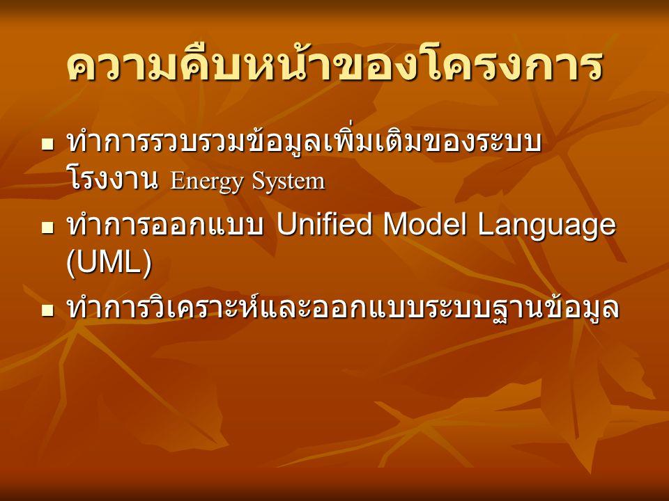 ความคืบหน้าของโครงการ  ทำการรวบรวมข้อมูลเพิ่มเติมของระบบ โรงงาน Energy System  ทำการออกแบบ Unified Model Language (UML)  ทำการวิเคราะห์และออกแบบระบ