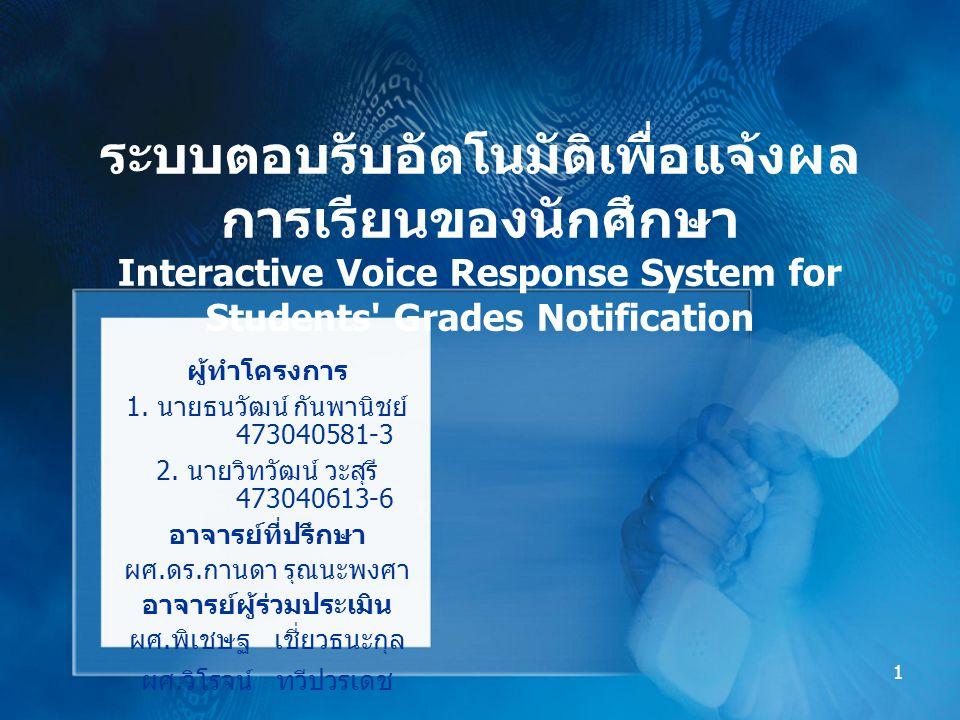 12 ระบบฟังข่าวอัตโนมัติ (NewsTalk) โทรศัพท์เข้ามาที่ ระบบ Asterisk ตอบรับการ ทำงานและเรียกใช้ โปรแกรม NewsTalk ดึงข้อมูลข่าวจาก อินเทอร์เน็ต  แยกข้อความภาษาไทย และอังกฤษ  สังเคราะห์เสียง ข้อความ เสียง