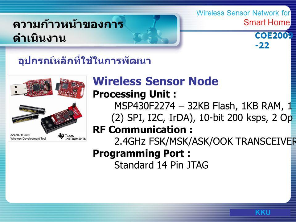 www.themegallery.com ความก้าวหน้าของการ ดำเนินงาน อุปกรณ์หลักที่ใช้ในการพัฒนา Wireless Sensor Node Processing Unit : MSP430F2274 – 32KB Flash, 1KB RAM