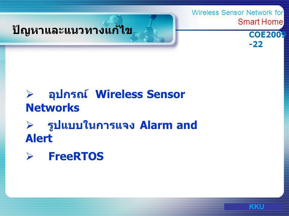 www.themegallery.com ปัญหาและแนวทางแก้ไข  อุปกรณ์ Wireless Sensor Networks  รูปแบบในการแจง Alarm and Alert  FreeRTOS KKU Wireless Sensor Network fo