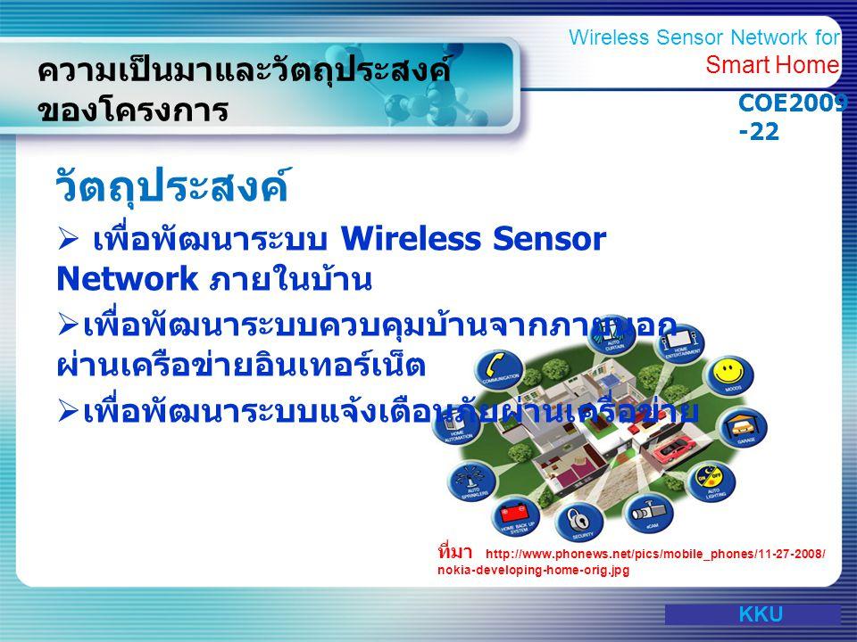 www.themegallery.com ภาพรวมของโครงการ Wireless Sensor Network for Smart Home KKU Wireless Sensor Network for Smart Home COE2009 -22